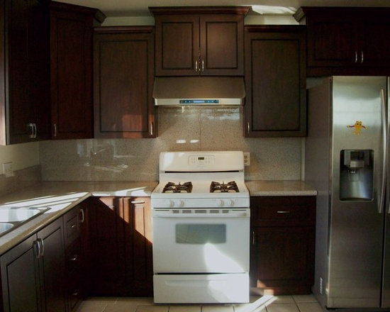 Jane's Chocolate Kitchen (Renderings and Complete) - O'Neil Cabinets Chocolate door style.