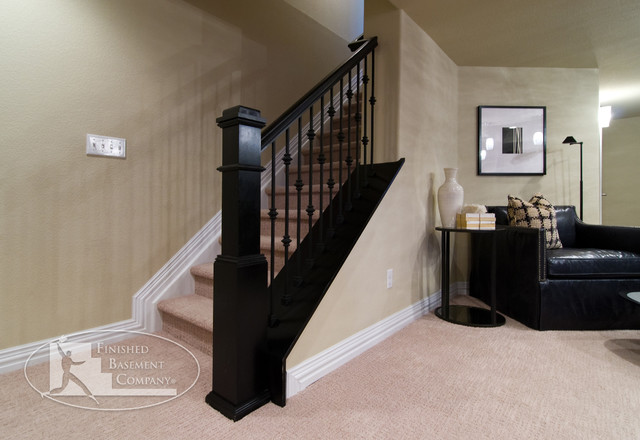 Basement entry stairway modern basement denver by for Modern finished basements