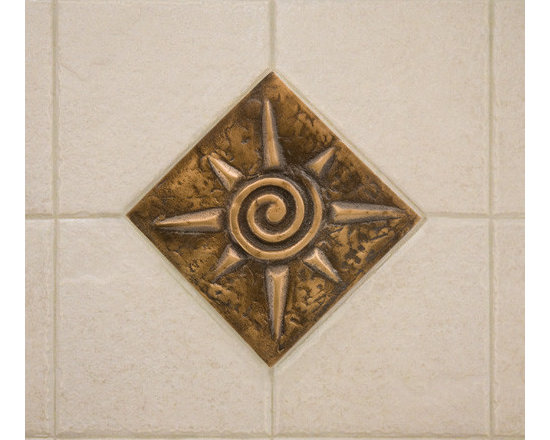 """Home Accents - 4"""" Solid Bronze Wall Tile with Sun Design, Signature Hardware"""