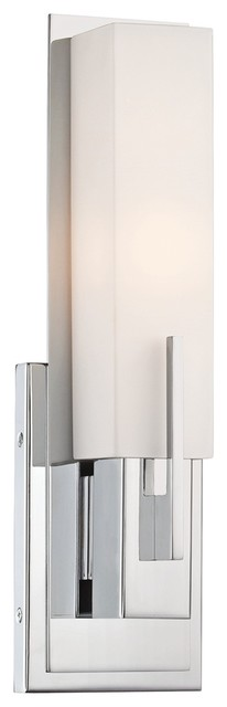 """Possini Euro Midtown 15"""" High White Glass Chrome Wall Sconce contemporary-wall-sconces"""