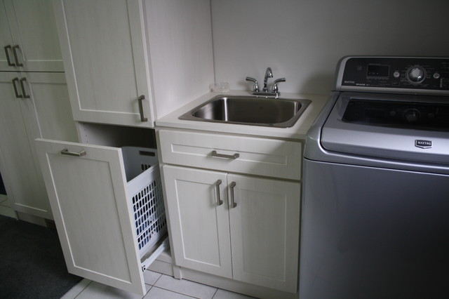 Antique Whitewash Laundry Room contemporary-laundry-room