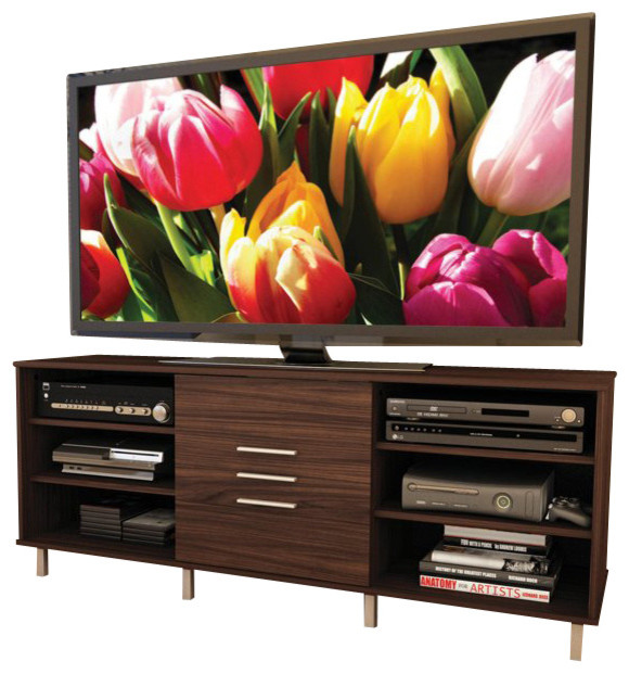 Sonax Sedona TV Stand and Component Bench in Ebony Pecan Finish modern-media-storage