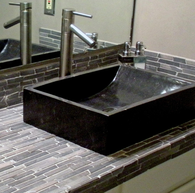 ... Marble Trough Vessel Sink & Black Finger Tile modern-bathroom-sinks