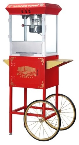 Roosevelt 8 Ounce Antique Popcorn Machine with Cart modern-kitchen-islands-and-kitchen-carts