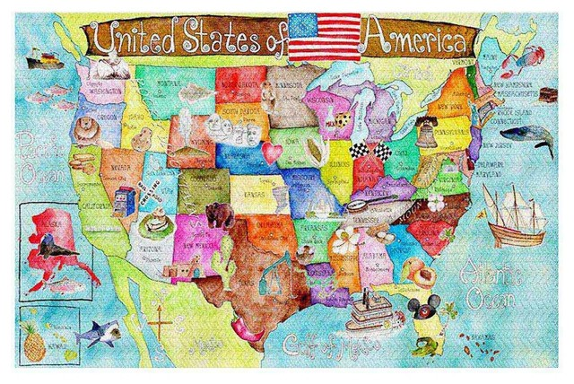 United States Map Area Rug Contemporary Kids Rugs