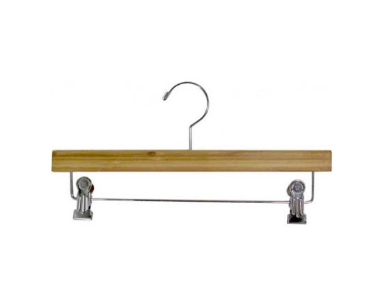 """14"""" Bamboo Pant / Skirt Hanger with cushion inserted clips - Box of 100 hangers."""