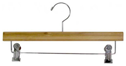 """14"""" Bamboo Pant / Skirt Hanger with cushion inserted clips wall-hooks"""