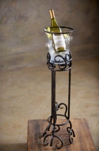 Wrought iron siena floor wine chiller - Wine racks wrought iron floor standing ...