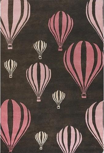 Kids Balloon Pink/Brown Kids Rug modern-kids-rugs