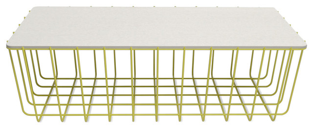 Blu Dot Scamp Large Table, Yellow Base - White on Oak Top contemporary-coffee-tables