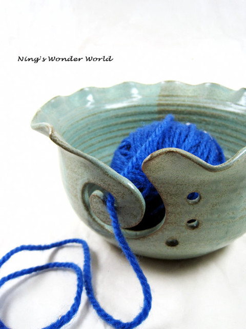 Yarn Bowl In Mint Green By Ning's Wonder World eclectic-accessories-and-decor