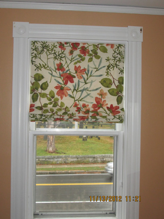 Window Treatments - This beautiful flat roman shade is insulated for warmth