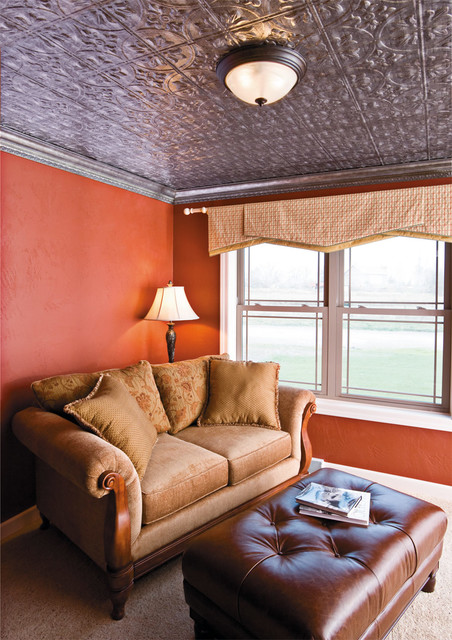 Fasade faux tin ceiling panels traditional living room - Living room ceiling tiles ...