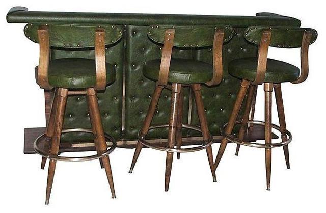 Mid century modern bar 3 danish bar stools 3 500 est for Mid century bistro table