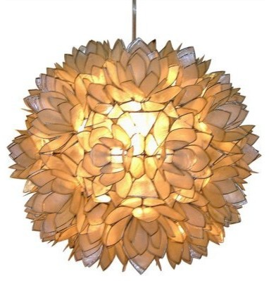Capiz Shell Floral Pendant Light, White contemporary pendant lighting