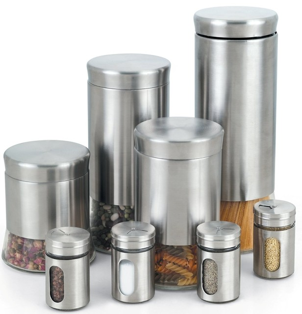 stainless steel 8 canister and spice jar set