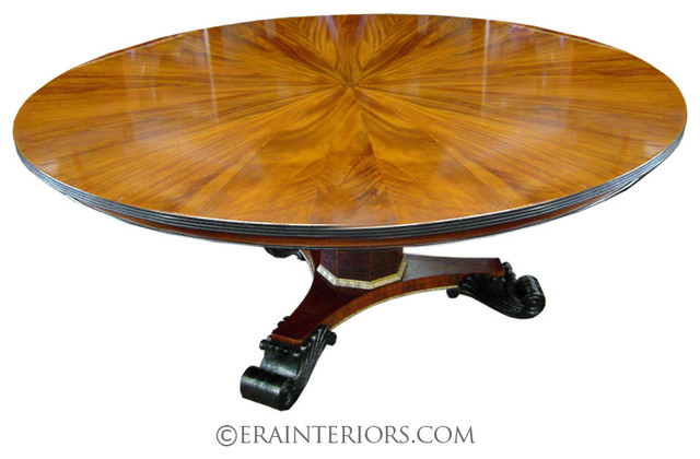 Empire round dining table with tripartite base for Traditional dining table bases