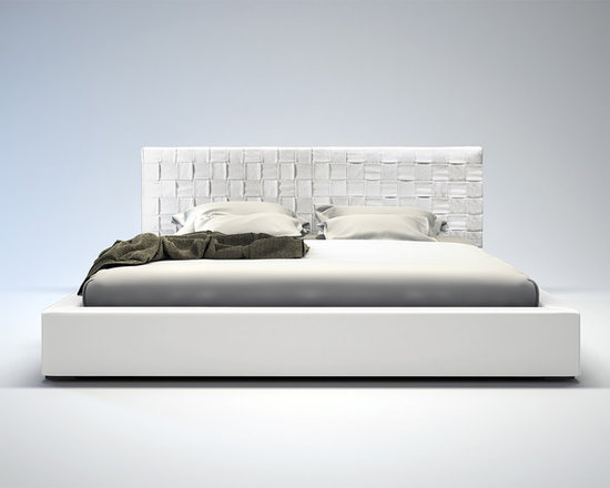 Madison Contemporary & Modern Bed by ModLoft - The Madison is elegantly designed with a complex woven leather headboard and simple leather frame. The leather headboard is hand woven featuring a sophisticated overlapping technique. Flexible wood slats sit inside the bed frame and allow air to circulate beneath the mattress. No box spring necessary; simply use an innerspring or latex foam mattress. Platform height measures 12 inches (2 inch inset). Available in California-King, Standard King, Queen, and Full sizes. Colors available include White, Plum, and Dusty Grey bonded leathers. Solid hardwood construction. Assembly required. Mattress not included. Imported.