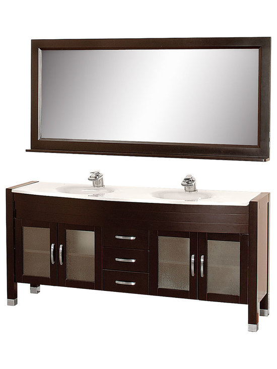 """Wyndham Collection - Daytona 71"""" Double Vanity Set w/ White Man-Made Stone Top & White Integral Sinks - The Daytona 71"""" Double Bathroom Vanity Set - a modern classic with elegant, contemporary lines. This beautiful centerpiece, made in solid, eco-friendly zero emissions wood, comes complete with mirror and choice of counter for any decor. From fully extending drawer glides and soft-close doors to the 3/4"""" glass or marble counter, quality comes first, like all Wyndham Collection products. Doors are made with fully framed glass inserts, and back paneling is standard. Available in gorgeous contemporary Cherry or rich, warm Espresso (a true Espresso that's not almost black to cover inferior wood imperfections). Transform your bathroom into a talking point with this Wyndham Collection original design, only available in limited numbers. All counters are pre-drilled for single-hole faucets, but stone counters may have additional holes drilled on-site."""