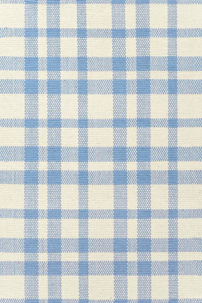 Tattersall Blue/Cream Woven Cotton Rug contemporary-rugs