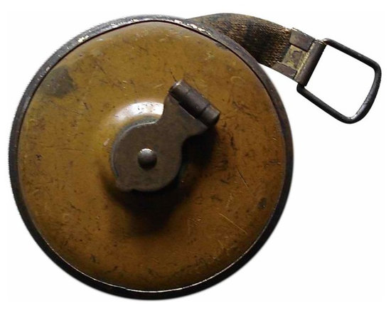 Industrial Tape Measure - Weathered metal measuring tape with lovely mustard color patina. Brass hand crank.