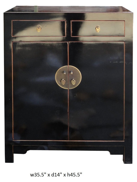 Chinese Black Lacquer Narrow Tall Foyer Shoes Cabinet - This is a simple cabinet with slim depth and middle height design for foyer or entrance use. The surface is clean black lacquer finish. The top two drawers are good for small accessories storage. The bottom shelves are good for shoes storage. Shelves are movable.