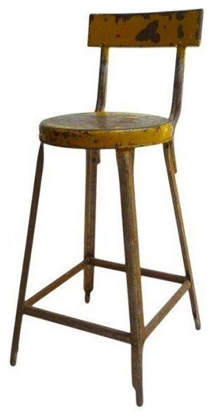Used Vintage Yellow Industrial Stool Industrial Bar  : modern bar stools and counter stools from www.houzz.com size 308 x 605 jpeg 30kB