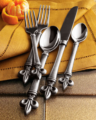 20-Piece Fleur-De-Lis Flatware Service traditional flatware