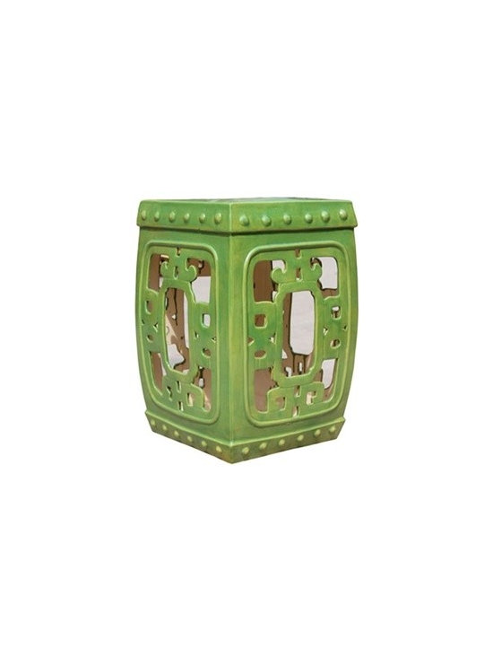 Tender Green Square Medallion Garden Stool - Add an exotic flair and rich burst of color to a room with this intriguingly stylish square garden stool. We love how the intricate stoneware design allows the light to pass through for a look that is both substantial but delicate. Use this larger scale stool as a way to add a fun accent color to a room or try it as an unexpected side table.