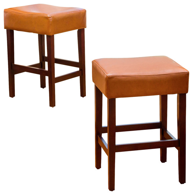 Malachi Leather Backless Counter Stools Set Of 2