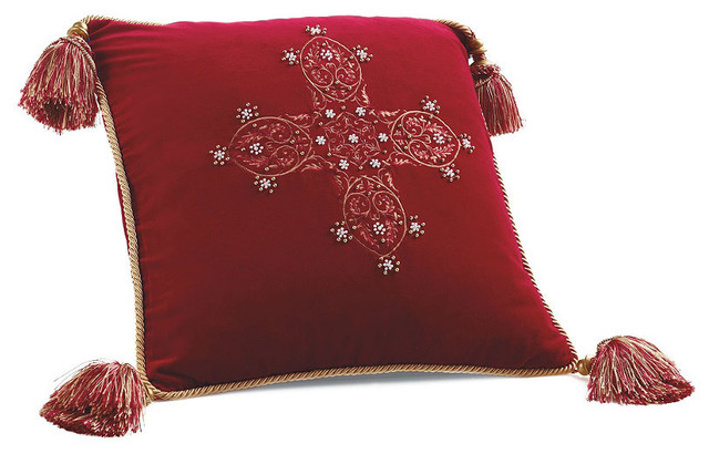 Medici Cross Embroidered Christmas Pillow - Frontgate Christmas Decor - Traditional - Holiday ...