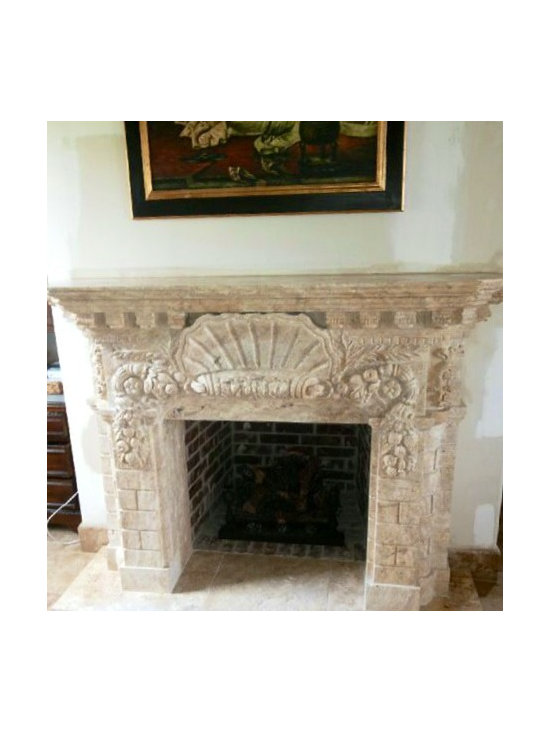 Installations - Hand carved Travertine marble mantle