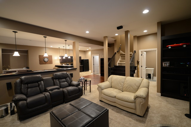 french country in the woods craftsman basement indianapolis by