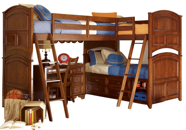 lea deer run 4 piece tri bunk bed kids 39 bedroom set in