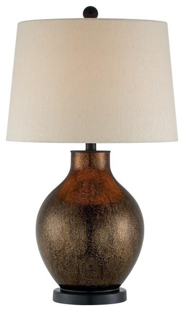 contemporary copper crackle glass jug base table lamp. Black Bedroom Furniture Sets. Home Design Ideas