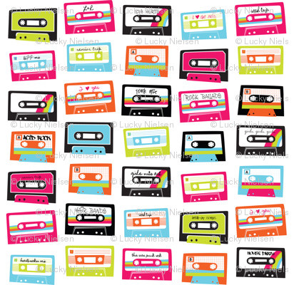 I Love The '80s Mixed Tape Fabric By Happy Go Lucky Creations - Eclectic - Fabric - by Spoonflower