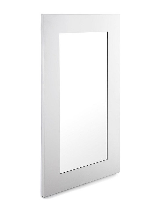 """Blomus - Muro Mirror - Matte finished stainless steel framed mirror. Total Size: 25"""" x 45"""" x 1"""" inchesWide of Stainless Steel Border: 4.75"""" inches"""