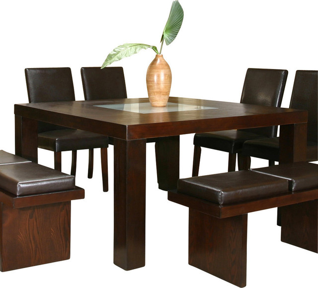 cramco kemper square espresso hickory veneer with frosted glass top dining table contemporary. Black Bedroom Furniture Sets. Home Design Ideas