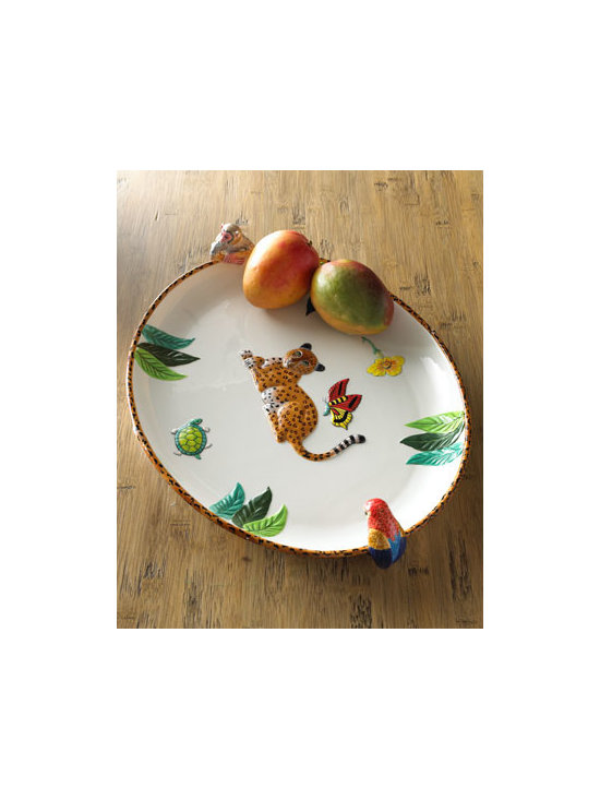 "Lynn Chase Designs - Lynn Chase Designs Jungle Jubilee Platter - Whether at your vacation retreat or everyday home, wildlife serveware creates an adventure. A multicolor jungle motif adorns this platter and tray from Lynn Chase. Handcrafted earthenware. Platter, 20.5""L x 14.25""W x 3.5""T. Tray, 15.25""L x 13.25""W x...."