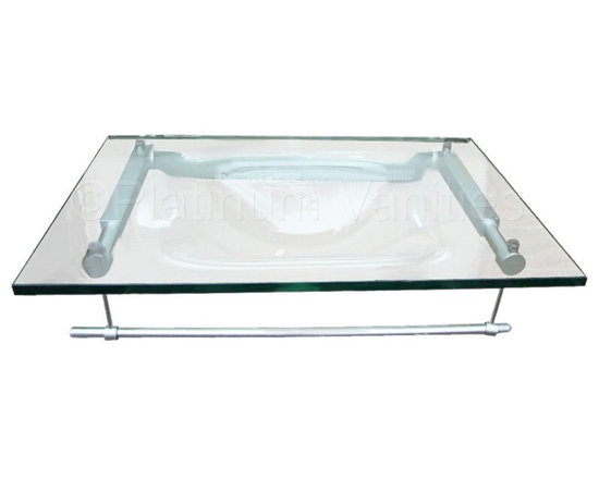 Clear Integrated Tempered Glass Bathroom Sink Countertop Vanity -