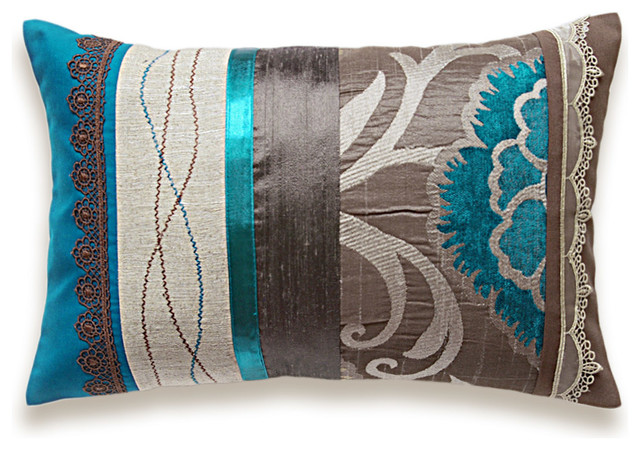 Teal Blue Taupe Brown Beige Lumbar Pillow Case 12 X 18 In