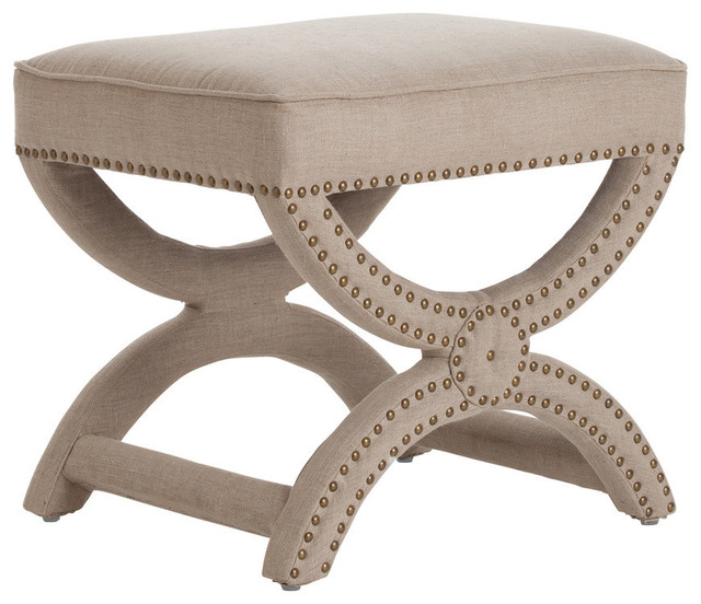 Tennyson Natural Linen Stool with Antique Brass Stud contemporary-bar-stools-and-counter-stools