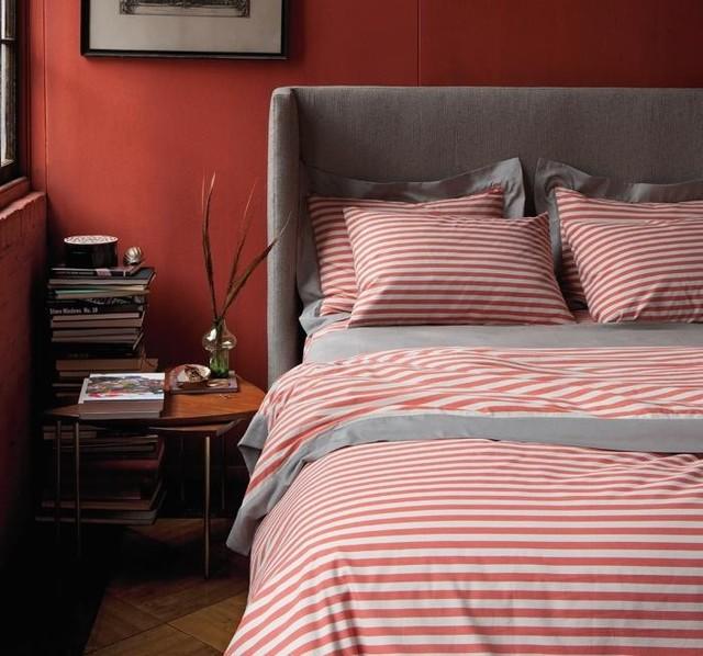 Dwellstudio Draper Stripe Poppy Duvet Set modern-home-decor