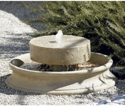 Millstone Fountain transitional-outdoor-fountains-and-ponds