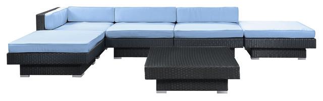Laguna Outdoor Wicker Patio 6-Piece Sectional Sofa Set in Espresso modern-outdoor-sofas