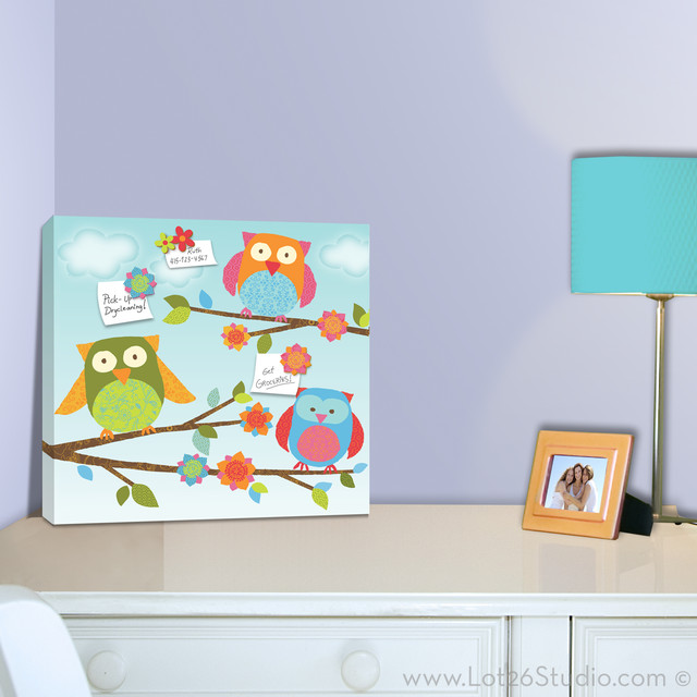 Owls Magnetic Memo Board contemporary bulletin board