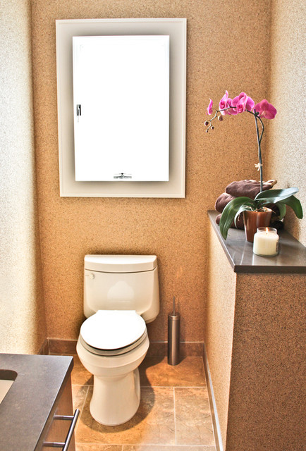 Cork and Mica Wall Covering Powder Room contemporary-bathroom