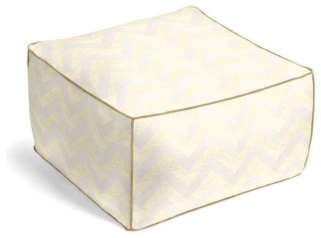 Gold Metallic & Ivory Chevron Custom Pouf contemporary-floor-pillows-and-poufs