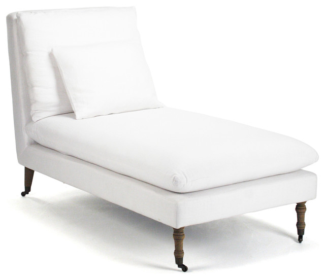Maison blanche white cotton coastal beach chaise lounge for Chaise blanche accoudoir