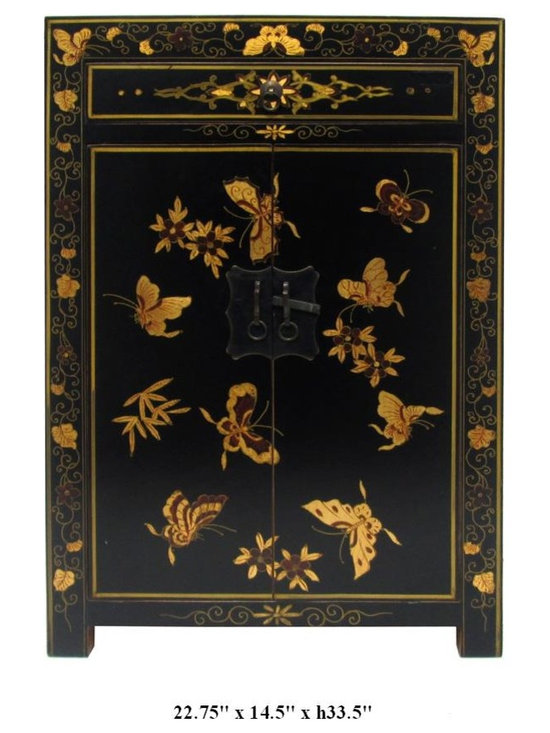 Chinese Black Lacquer Butterfly & Floral Graphic End Table / Side Table - You are looking at a Chinese black lacquer butterfly & floral graphic end table. It has one drawer and one two-layer compartment for storage and it comes with nice bronze hardware.